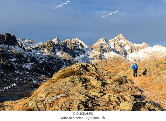 Hiker on the way to Presanella Mount in Nambrone valley, Trentino Alto Adige, Italy Europe