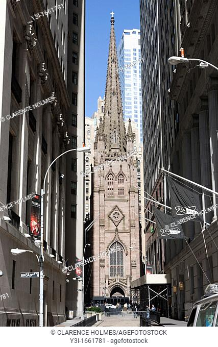 Trinity Church is visible at the end of Wall Street after the area was cleared by police in anticipation of Occupy Wall Street protests in New York City