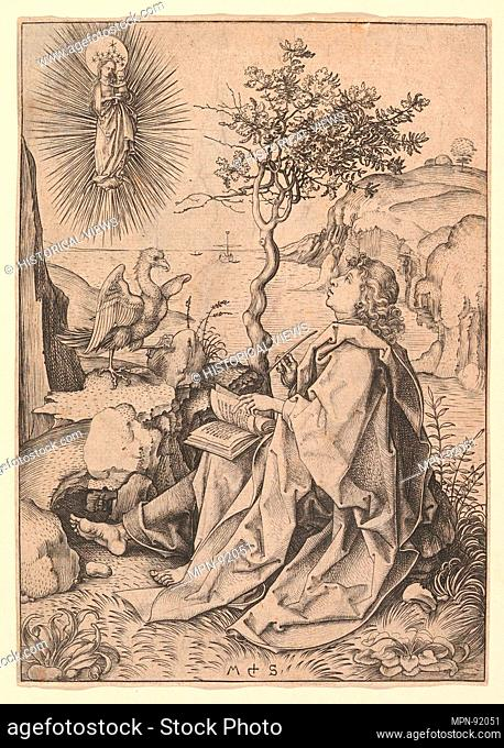 St. John the Evangelist on Patmos. Artist: Martin Schongauer (German, Colmar ca. 1435/50-1491 Breisach); Medium: Engraving; Classification: Prints; Credit Line:...