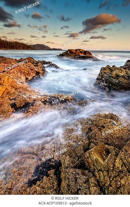 Wild West Coast of Northern Vancouver Island, Cape Scott, British Columbia, Canada. Waves crashing along coastline photographed in long exposure