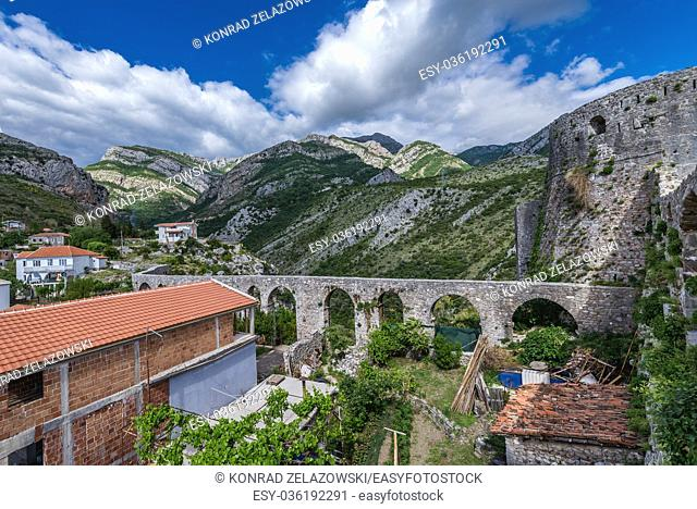 Ancient stone aqueduct seen from fortress in Stari Bar (Old Bar) - small town near Bar city, part of Bar Municipality in southern Montenegro