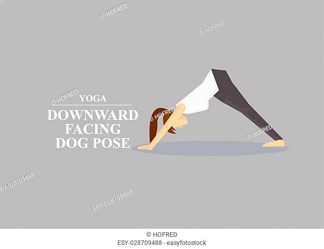Sporty women in yoga downward facing dog pose by supporting body with hands and feet while pushing hips up. Vector illustration isolated on plain grey...