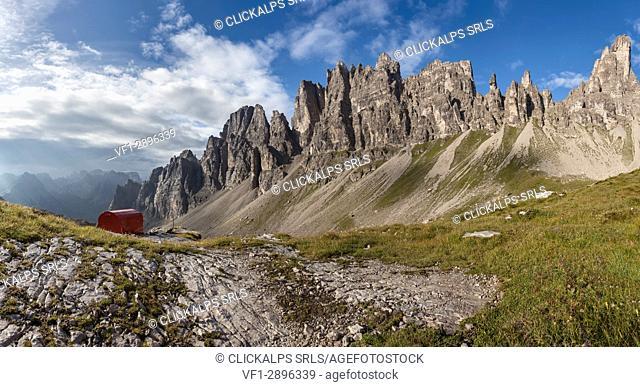 Europe, Italy, Friuli Pordenone. The bivouac Granzotto - Marchi in Val Monfalcon Forni towards the Croda Ultima del Leone