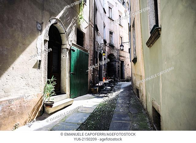 Alley with old buildings, Orta, Lake Orta, Piedmont, Italy