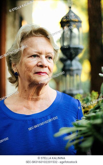 Portrait of senior woman contemplating