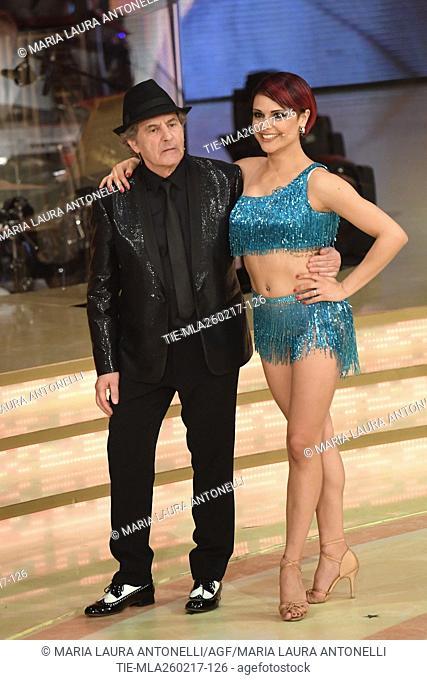 Fausto Leali with Ornella Boccafoschi during the tv show Ballando con le stelle, Rome, ITALY-25-02-2017
