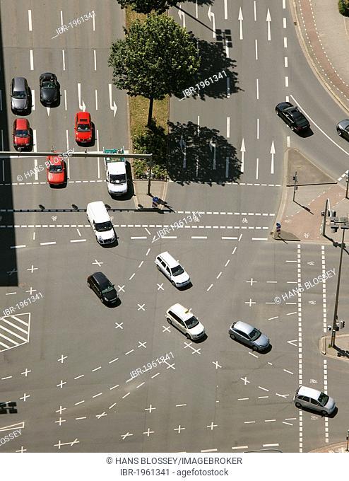 Aerial view, Maerkische Strasse street, junction, Dortmund, Ruhrgebiet region, North Rhine-Westphalia, Germany, Europe