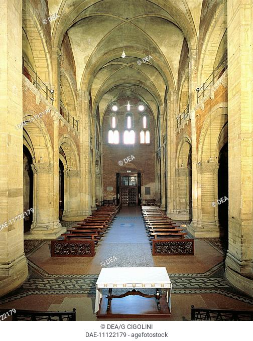 Central nave towards the entrance of San Michele Maggiore Basilica, Pavia. Italy, 11th-15th centuries