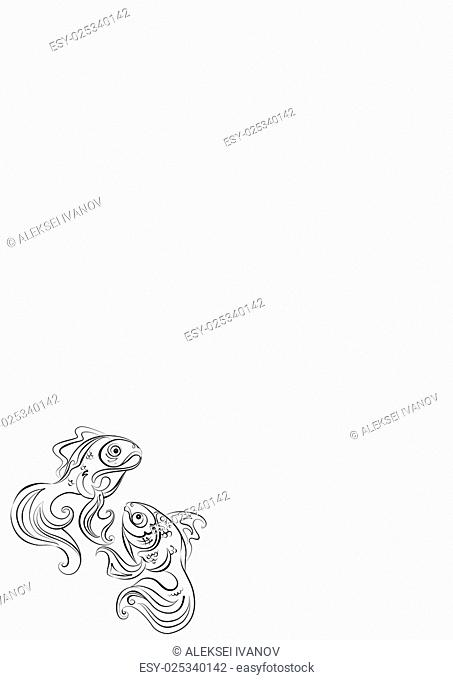 Illustration of two stylized Golden fish with no fill color