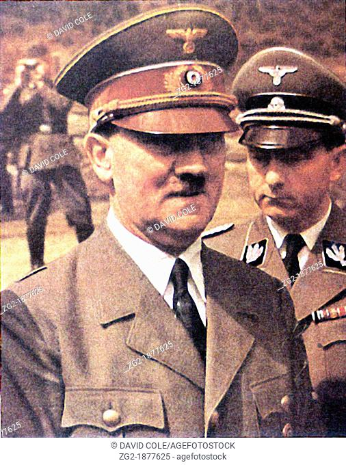 Adolf Hitler - wartime image of the German Leader - a rare image from early colour film  Adolf Hitler was an Austrian-born German politician and the leader of...