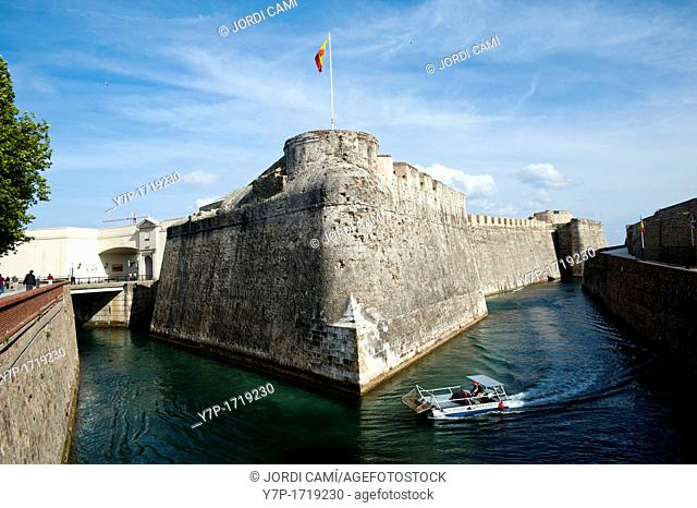 Defensive city Wall and moat in the isthmus of Spanish enclave of Ceuta  Spain