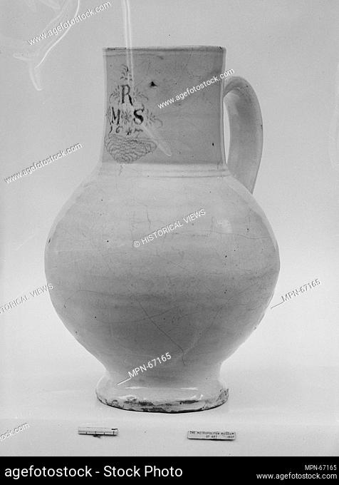 Jug. Maker: Lambeth Factories; Date: ca. 1647; Geography: Made in England; Culture: British; Medium: Tin-enameled earthenware; Dimensions: H