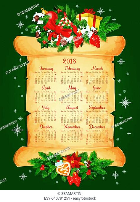 2018 calendar for Christmas winter season of winter snow and New Year decorations. Vector frame of golden bell, Christmas tree fir or pine cones