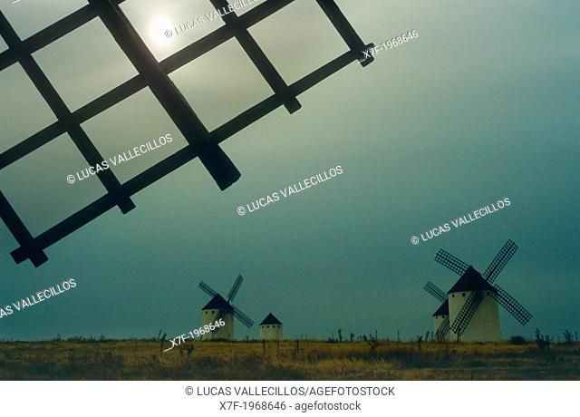 Windmills, Campo de Criptana, Ciudad Real province, Castilla-La Mancha,the route of Don Quixote, Spain