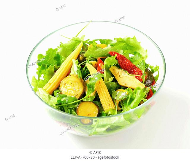 Bowl of salad with pickled vegetables