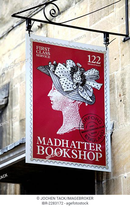 Sign of the Madhatter Bookshop, High Street, Burford, Oxfordshire, Great Britain, Europe