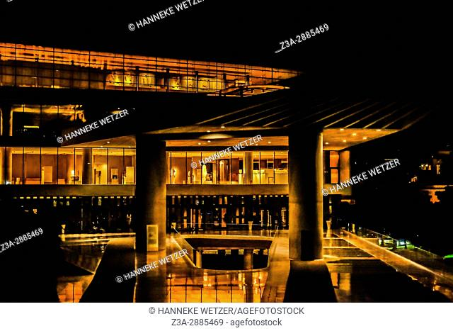 Acropolis museum by night, Athens, Greece, Europe