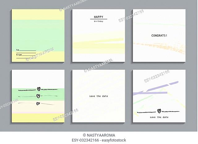 Set of artistic creative universal cards. Hand Drawn textures. Vector illustration