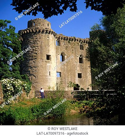 Nunney Castle is a small,French style castle surrounded by a deep moat,built for Sir John Delamare in 1373