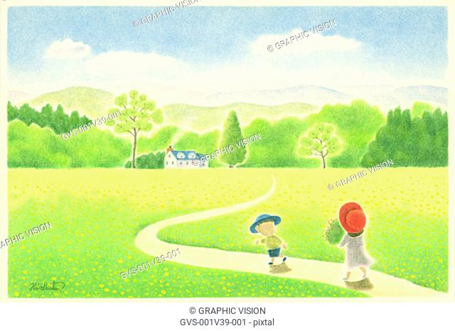 Illustration of Two Children Walking on Path