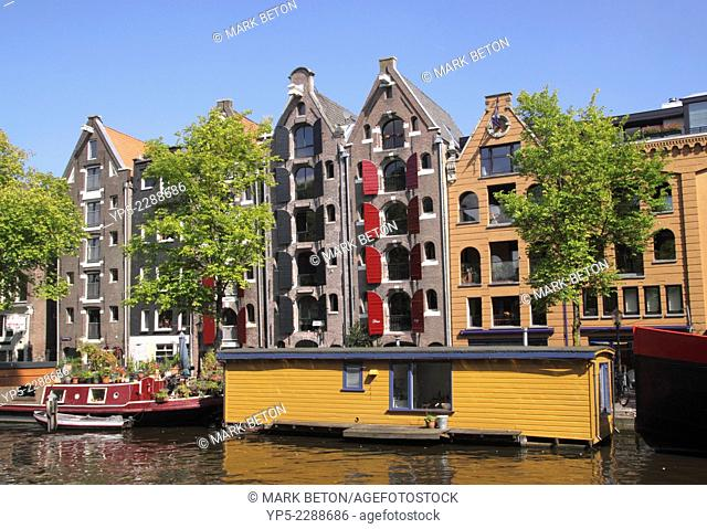 Canalside buildings by Brouwersgracht Canal Amsterdam Holland