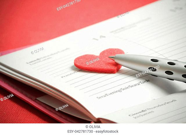 Preparation for St. Valentine's Day. Notes in a notebook on the day of St. Valentine