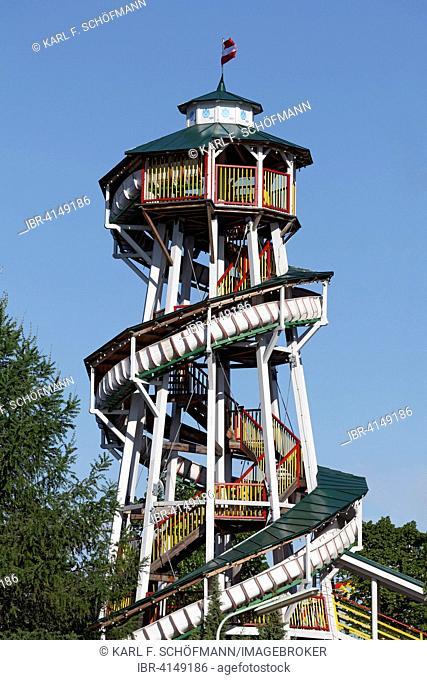 Teufelsrutsche, historical slide tower, Prater or Wurstelprater, Vienna, Austria