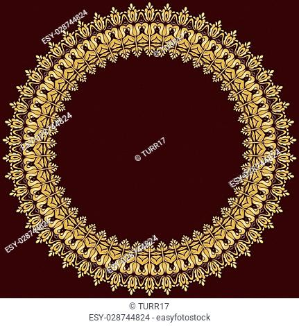 Oriental vector round frame with golden arabesques and floral elements. Fine greeting card