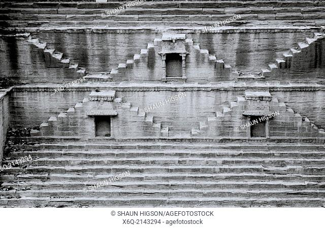 Ancient step well in Jodhpur in Rajasthan in India in South Asia