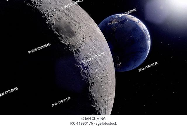 Digitally manipulated image from space of the South Atlantic Ocean behind the moon
