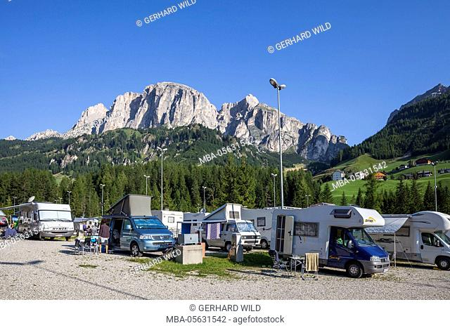 Camping Colfosco between Kolfuschg and Corvara, Sas Ciampac behind, Dolomites, South Tyrol, Italy, Europe