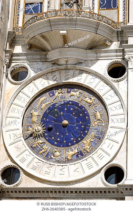 The Torre dell'Orologio (Clock tower) in the Piazza San Marco, Venice, Veneto, Italy