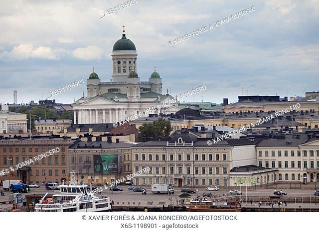View of Helsinki and its cathedral from the harbour, Helsinki, Finland