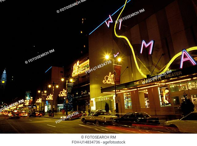 Philadelphia, PA, Pennsylvania, The Wilma Theater along Broad Street in downtown Philadelphia in the evening