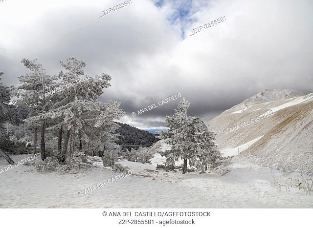 Beautiful winter mountains landscape Gudar sierra Teruel Aragon Spain