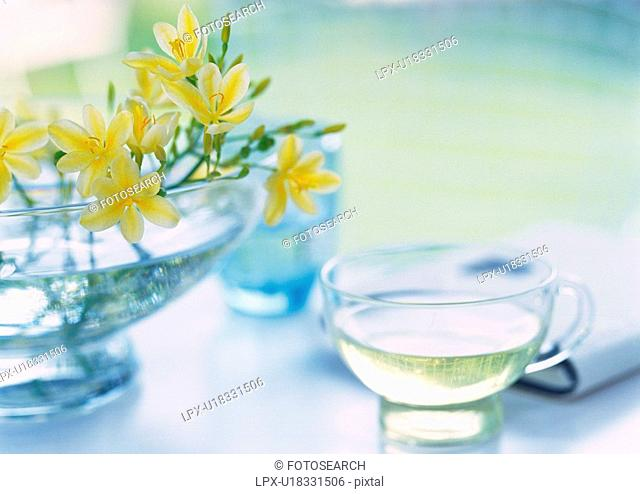 Flower in Vase and Herb Tea on Table, High Angle View, Close Up, Differential Focus, In Focus, Out Focus