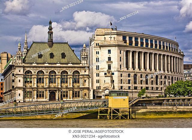 Unilever House, Old City of London School Building, Blackfriars Millennium Pier, River Thames, City of London, London, England, UK, United Kingdom, Europe