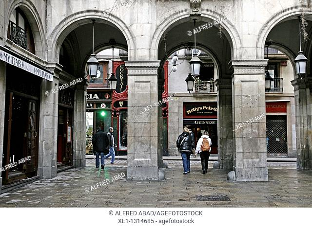 Arcades, Plaça Reial (architect: Francesc Daniel Molina, 19th Century), Barcelona, Catalonia, Spain