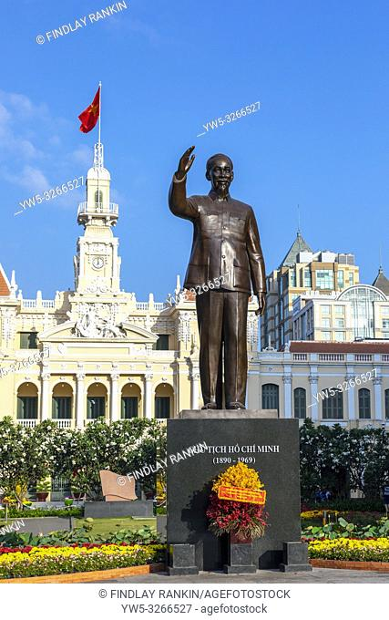 Statue of Ho Chi Minh at the northern end of Nguyen Hue Boulevard, outside the Hotel de Ville (city halls) a French designed neo-baroque building now used as...
