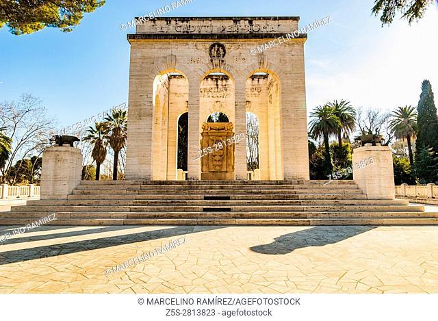 Mausoleo Ossario Garibaldino on the Janiculum Hill, dedicated to the fallen for Rome between 1849 and 1870. Rome, Lazio, Italy, Europe
