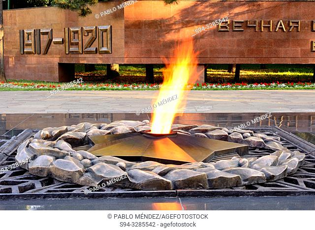 The flame that never goes out in the Park of the 28 guards of Almaty, Kazakhstan