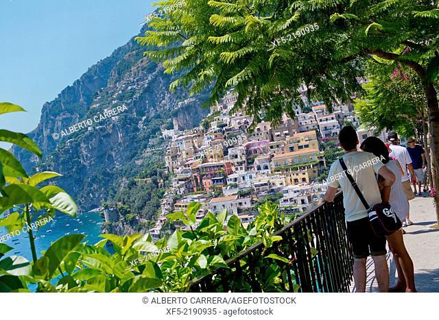 Positano, Amalfi Coast, Tyrrhenian Sea, Campania, Italy, Europe