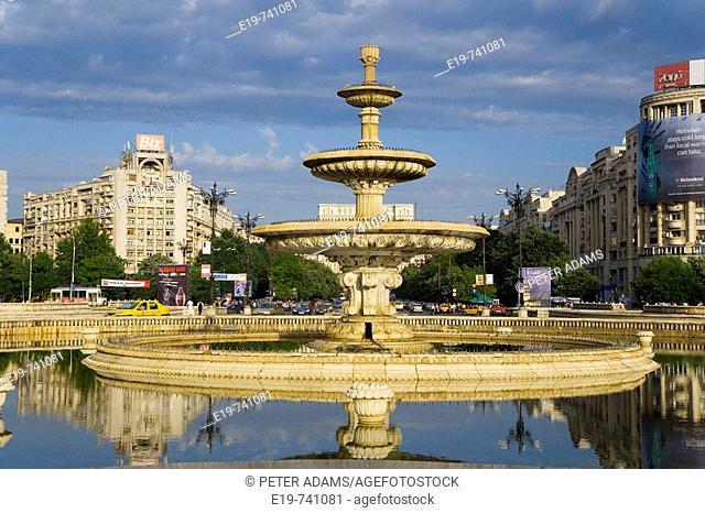 Piata Unirii Square & fountain & Palace of Parliment, Bucharest, Romania