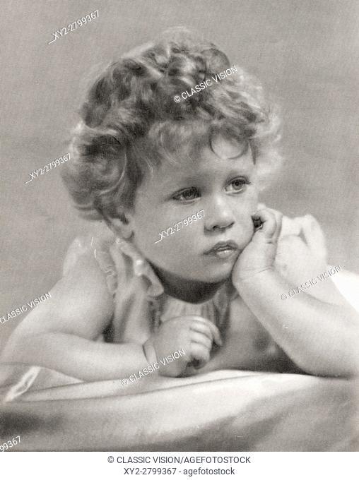 Princess Elizabeth, future Queen Elizabeth II, in 1928. Elizabeth II, born 1926. Queen of the United Kingdom, Canada, Australia and New Zealand