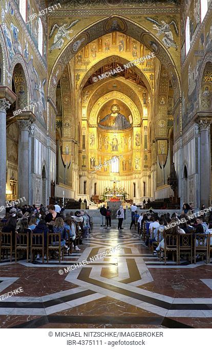 Interior, Monreale Cathedral, Monreale, Sicily, Italy