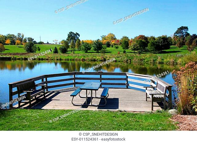 Picnic table by the pond