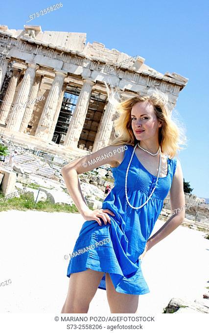 Woman front the Parthenon, Acropolis, Athens, Greece
