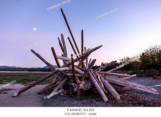 Stacked driftwood logs on beach at dusk, Rathrevor Beach Provincial Park, Vancouver Island, British Columbia, Canada