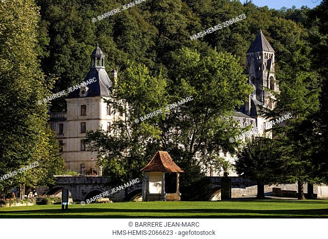 France, Dordogne, Brantome, Benedictine Abbey of Saint Pierre de Brantome