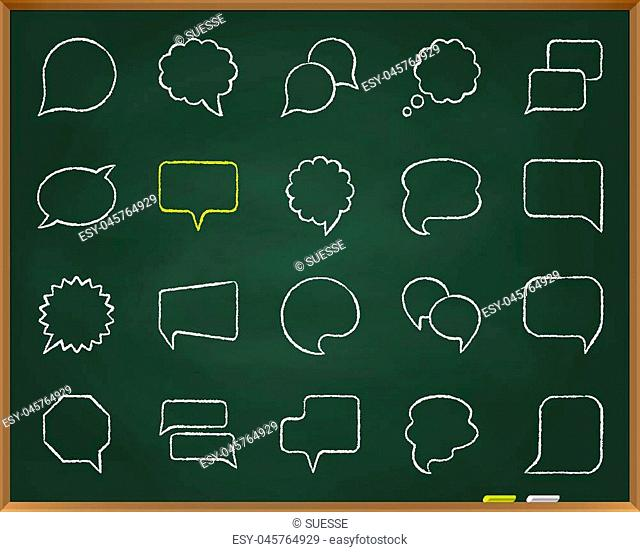 Speech Bubble chalk icons set. Outline sign kit of comic tell. Chat Communication linear icon customer message, clean note